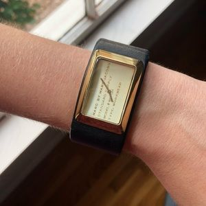 Leather and gold watch